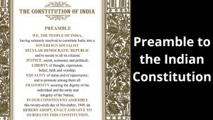 Preamble of The Indian Constitution
